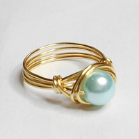 Soft Blue Glass Pearl Gold Wire Wrapped Ring