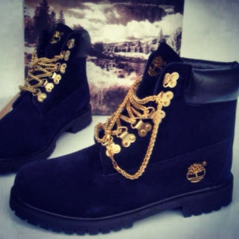 custom black timberland boots with gold from sneakerhead15 on