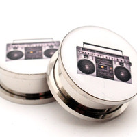 Boombox Picture Plugs gauges - 8g, 6g, 4g, 2g, 0g, 00g, 7/16, 1/2, 9/16, 5/8, 3/4, 7/8, 1 inch