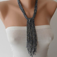 Charm Necklace - Gray Necklace with Glass Beads- Speacial Design