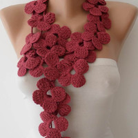 Autumn Scarf - Handknit flowered scarf - Rose Pink scarf