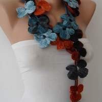 Autumn Scarf - Handknit flowered scarf -  Multicolor scarf