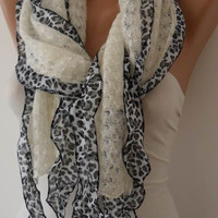 Creamy White Scarf with Leopard Frills - Knit Fabric
