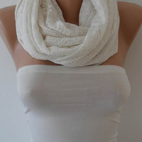 Off-White Lace Infinity Scarf - Lace Fabric