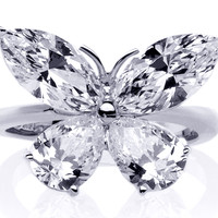 European Engagement Ring - Mixed Cut Butterfly Diamond Ring  1 carat total weight in 14K White Gold - ER227