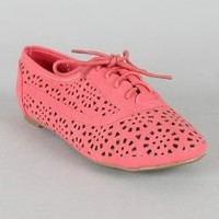 Cambrdige 04 lace Ups Cut Out Oxfords Flats Jazz CORAL