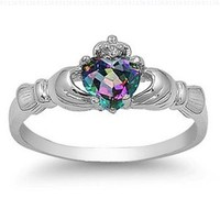 9MM 2ctw Sterling Silver FIRE Rainbow Topaz Mystic HEART Royal Claddagh Irish Ring-SIZE 4-10:Amazon:Jewelry