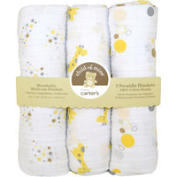 Walmart: Child of Mine by Carter's Treetop Friends 3-Pack Muslin Swaddle Blankets