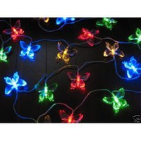 Gudcraft Solar Powered Butterfly String Lights 20 LED Light String Butterfly
