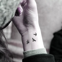 InknArt Temporary Tattoo  3pcs Little birds swallows by InknArt