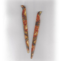 Acrylic Hair Sticks Carved DOT BENGAL ORANGE Fall Color 6 Total Iinches u.s.. Shipping Included (a17)