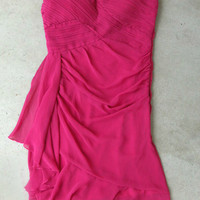 Pleats and Ruffles Dress in Fuchsia [4237] - $42.00 : Vintage Inspired Clothing & Affordable Summer Frocks, deloom | Modern. Vintage. Crafted.