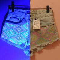 GlowInTheDark Aztec Shorts Handmade  Made to Order  by 312style