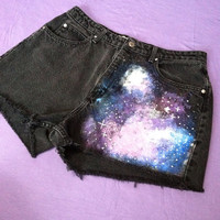 High waist galaxy shorts (size 14)