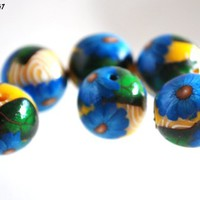 Blue Flower Beads with White Swirls on Yellow Handmade Polymer Clay