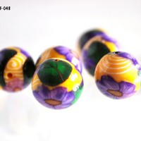 Purple Flower Beads on Yellow Polymer Clay Handmade with White Swirls