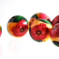 Red Flower Beads on Yellow Handmade Polymer Clay with White Swirls