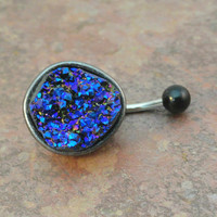 Iridescent Druzy Belly Button Jewelry Ring