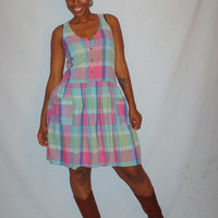 Vintage 1980s Plaid Dress Pink Green and Blue