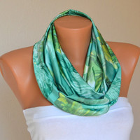 Mint green floral infinity scarf  loop scarf cowl neck warmer women scarves birthday gifts girly accessories women's fashion