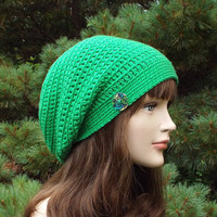 Bright Green Slouch Beanie - Womens Slouchy Crochet Hat - Ladies Oversized Cap with Button - Hipster Hat