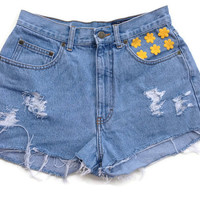 High Waisted Denim Shorts Tie Dye Pocketa Floral Jean Shorts