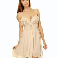 Romantic Beige Dress - Ruffle Dress - Lace Up Dress - &amp;#36;65.00