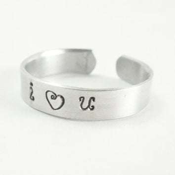 I love you aluminum ring heart ring - Men's ring women's ring - Handmade silver tone ring -  I Heart U I Heart You
