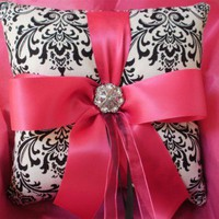 Damask Ring Bearer Pillow Black white Fuchsia Hot PInk Ring Pillow | FantasyVintageBridal - Wedding on ArtFire