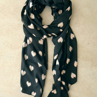 Sketched Hearts Scarf in Black [3751] - $16.00 : Vintage Inspired Clothing & Affordable Summer Frocks, deloom | Modern. Vintage. Crafted.