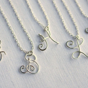 Sterling Silver Monogram Necklace by wirewrap on Etsy