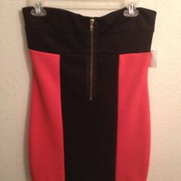 Charlotte Russe Orange And Black Color Block Minidress Size Large