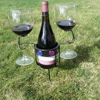 Picnic Wine Bottle and Glass Holders by BetteLouHollis on Etsy