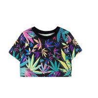 Ladies Colorful Maple Leaf Printed Crop Tee for Women