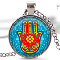 Hamsa Hand Necklace Hamsa Jewelry Good Luck Charm by FrenchHoney