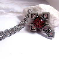 Volcano Blaze Cross Necklace  Gothic  Red by FashionCrashJewelry
