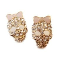 Crystal PINK Bow Skull Stud Earrings - Top Seller