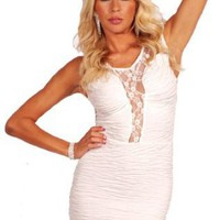 Sleeveless Sheer Lace Panel Design Fitted Tube Style Mini Club Party Dress