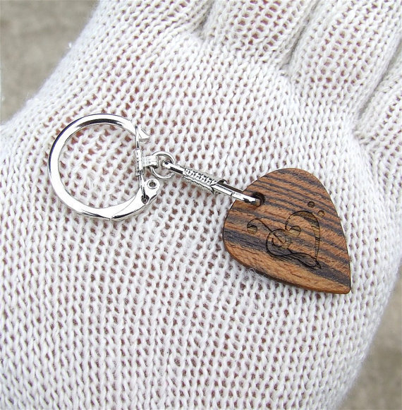 Custom Engraved Guitar Pick Shaped Key Chain - Exotic Bocote Wood