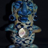 Blue Fumed Mayan Glass Pipe with Dichro Orb made in Oregon