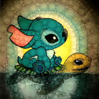Swimming Stitch Art Print by Alohalani