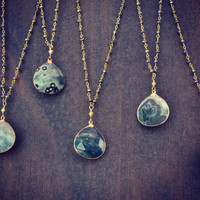 MOSS  /// Gemstone Gold Electroformed Necklace by luxdivine