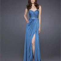 Column Strapless Sweetheart Drape Side Slit Oceanblue Prom Dress PD1555