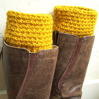 Mustard Boot cuffs - Mustard Crochet Boot Toppers - Golden Yellow Leg Warmers - Fall Winter Fashion 2013 - wool legwarmers