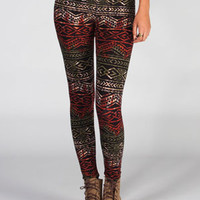 Full Tilt  Tribal Print Leggings Multi  In Sizes