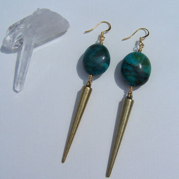 Large Turquoise & Brass Spike Earrings on Etsy