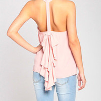 Ribbon Ruffle Tail Top in Pink