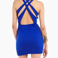 Cross Back Fitted Dress in Blue