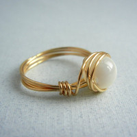 Custom Size Mother of Pearl Ring by threestonebirds
