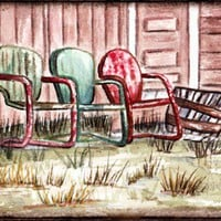Three Chairs Miniature Original Watercolor Painting | robanstudio - ACEO on ArtFire
